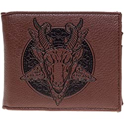 Sourpuss Hombre Bifold Cartera – Pizza Baphomet marrón
