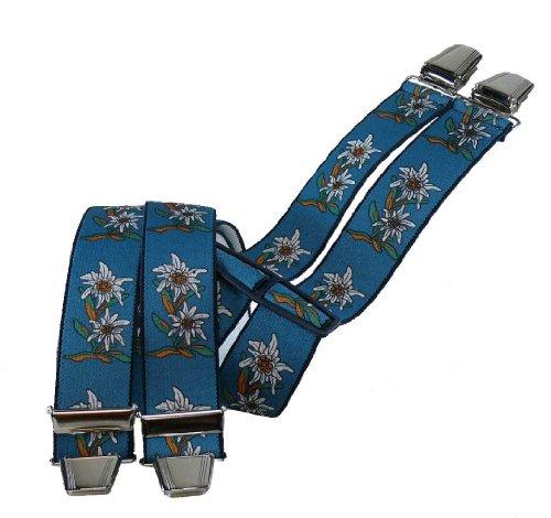 Hosenträger mit 4 extra starken Clips Edelweiß 6 Farben!, Farben:blau