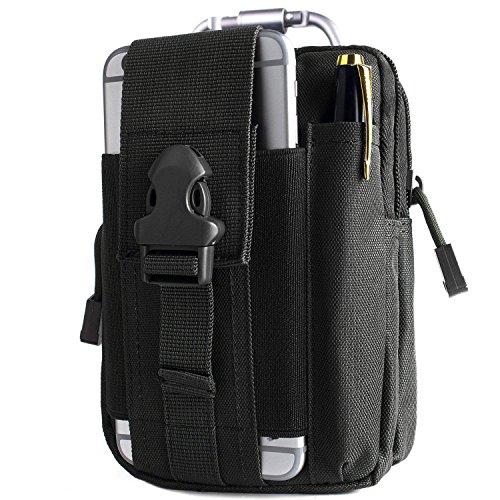 Unigear Taktische Hüfttaschen Molle Tasche Gürteltasche MOLLE Beutel Militär Ideal für Outdoorsport Multifunktionen Praktische Ausrüstung mit Extrafreiem Aluminiumkarabiner (Schwarz 1)