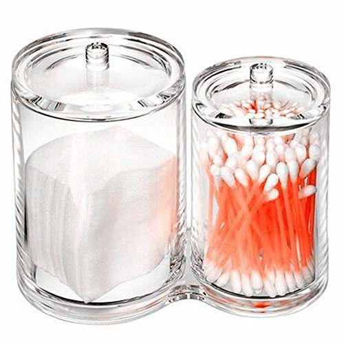 HABI Wattepadspender Kosmetex, Wattepads Wattestäbchen Halter Spender Wattebausch Tupferhalter, Zeletten, Acryl klar verbindend 2 runde Behälter