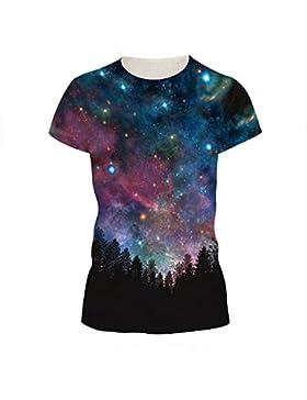 stampa digitale signora creativa Sky a maniche corte T-shirt sport casuali ad asciugatura rapida camicia fondo...