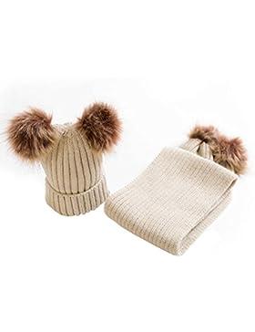 MIOIM Bebé Niño Niñas Gorros con Pompón con bufanda de invierno gorra con pelota hecha punto niños niñas collar...