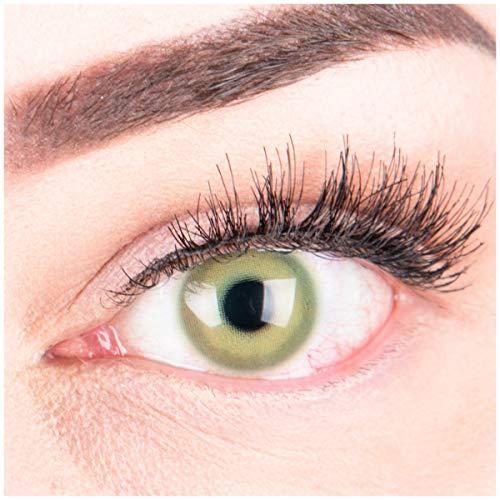 """Sehr stark deckende und natürliche grüne Kontaktlinsen SILIKON COMFORT NEUHEIT farbig \""""Alice Green\"""" + Behälter von GLAMLENS - 1 Paar (2 Stück) - DIA 14.50 - ohne Stärke 0.00 Dioptrien"""