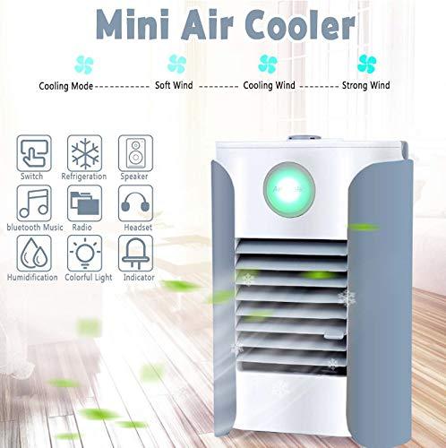 Tragbare klimaanlage kühler luftbefeuchter kühlung alle in 1 bluetooth musik radio lautsprecher 7 farben led 3 geschwindigkeit usb ladung