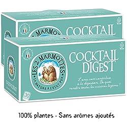 Les 2 Marmottes Infusion Cocktail Digest Lot de 2 Boites - Anis vert Fenouil Menthe - Bien-Être et Relaxation - Pour la digestion - Idéal en glacé - 30 Sachets par boite - Made in France