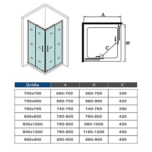 51GZdUhlqSL - Mamparas Angular Doble Puertas Correderas Gris Mate Cristal 5mm para Ducha 120x80cm