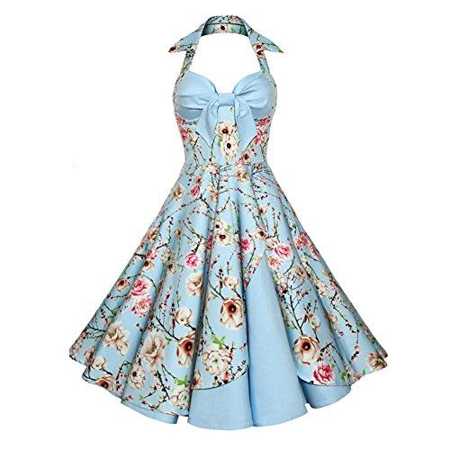 Vintage Rockabilly Kleid Partykleider Cocktailkleider IHRKleid® Neckholder Rockabilly 50er Vintage Retro Kleid Petticoat Faltenrock 2