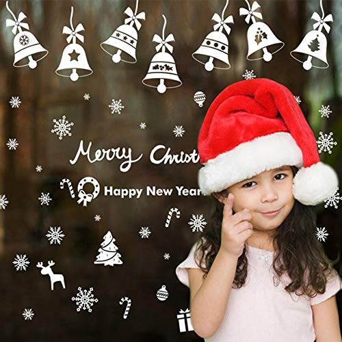 Amidaky 190 Stück Weihnachten Schneeflocken Fensteraufkleber klebstofffrei PVC Wandaufkleber Winter Wonderland weiß Dekorationen Home Decor Ornamente Urlaub Party Supplies 6 Sheets
