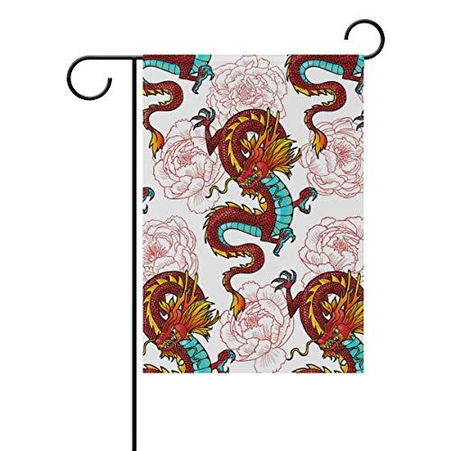 """Lafle Bandera de poliéster con diseño de Dragones de Dibujos Animados Boda, Fiesta, Patio, decoración para el hogar, 30 x 45 cm, 12"""" X 18"""""""