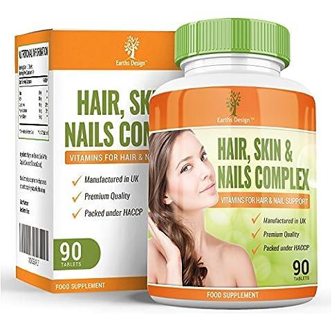 Complesso di vitamine per capelli, pelle e unghie, nutre la pelle, ripristina la crescita naturale dei capelli, rafforza le unghie, integratore ultra potente con silice, per uomo e donna – 90 capsule
