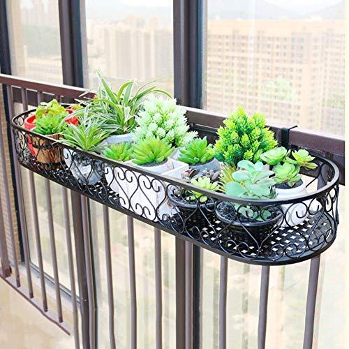 Supporto per piante in metallo nero appeso per parapetto per balcone portavasi per fiori supporto per piante per espositori per esterni PNYGJKHJ (Size : 100×25×12cm)