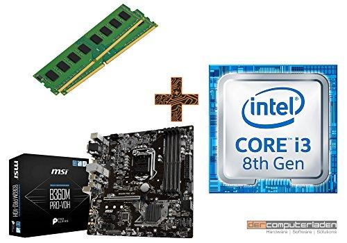 PC Aufrüstkit Intel, i3-8100 4x3.6 GHz, 16GB DDR4, Intel UHD Grafik 630-1GB, Mainboard Bundle, Tuning Kit, fertig montiert, Spiele Office zusammengestellt in Deutschland Desktop Rechner