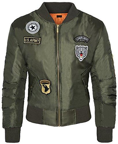 Damen Übergangs Jacke Bomber Bikerjacke Piloten Fliegerjacke Old School Vintage D-154 XS-L [D-154 - Khaki - Gr. M]