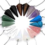 JS Direct, ciondolo a forma di pendolo in ametista naturale, quarzo rosa chiaro, cristallo, opalite, punte multi sfaccettate, cristalli guaritori 1 set (8 pezzi)
