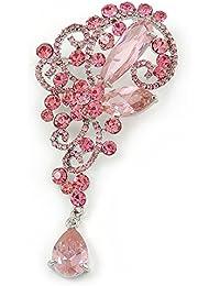 Declaración color rosa cristal austríaco, CZ encanto broche en rodio chapado–10cm L