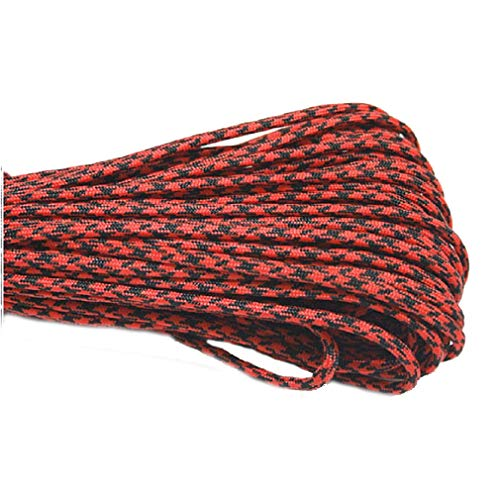 XIAONAN Paracord 550 Red Black Camo Rope 10m Long 7 Strands Cord with 4 Buckles 2019 Update Version, for Survival Camping Hiking Outdoor and Home Uses, 100% Nylon Line -