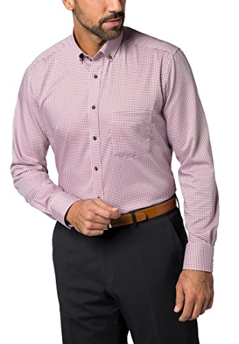 ETERNA long sleeve Shirt MODERN FIT Twill checked Rosso/Bianco