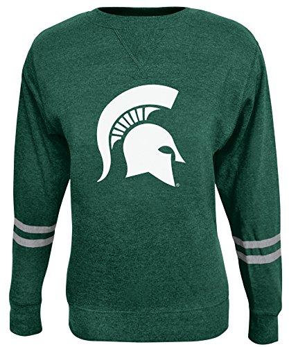 Alta Gracia NCAA Damen Crew Sweatshirt, Damen, Rosaura, grün, Large Scoop Neck Fleece Sweatshirt