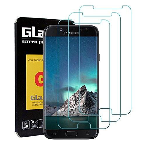 LeeIU [3 Stück Panzerglas Schutzfolie für Samsung Galaxy J7 2017, Panzerglas Displayschutzfolie Anti-Kratzen Panzerfolie Schutzfolie, Anti-Öl, 9H Echt Glas (Transparent)