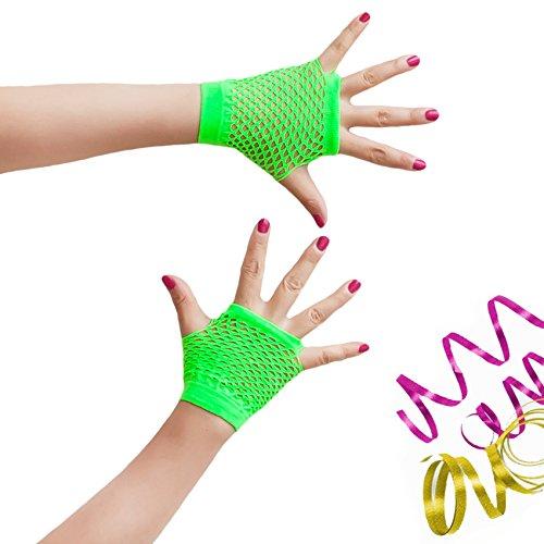 Oblique-Uniuqe® Netzhandschuhe in Neon Grün - Einheitsgröße