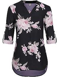 1196c580550e ELFIN Damen Große Größen Freizeit Lange Ärmel V-Ausschnitt Chiffon Bluse  Locker Shirt Elegante Frauen
