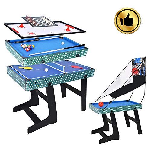 WIN.MAX 5-in-1-Multi-Game-Tisch, Korb, Billard, Schach, Tischtennis, Airhockey-Tischwettbewerb Größe MDF-BAU Fun Game Heavy Duty