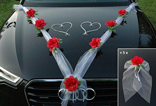 ORGANZA M + SCHLEIFE Auto Schmuck Braut Paar Rose Deko Dekoration Autoschmuck Hochzeit Car Auto Wedding Deko Ratan Girlande PKW ... (Rot Weiß H)
