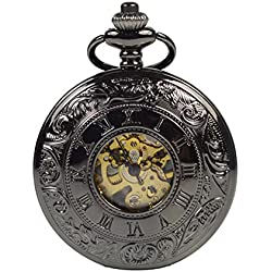 ManChDa® Antique Black Mens Mechanical Pocket Watch Double Hunter Retro Skeleton White Dial Black Roman Numerals with Chain + Gift Box