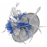 Caprilite Silver Grey and Royal Blue Sinamay Disc Saucer Fascinator Hat for Women Weddings Headband