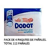4x Packungen von Windeln–Dodot Protection Plus Sensitive Windeln Größe 1(2–5kg) 28Windeln–insgesamt 112Stück (Windeln)