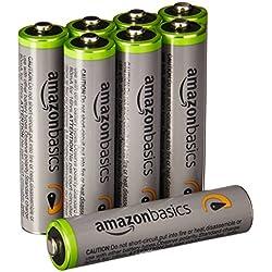 AmazonBasics - Juego de 8 pilas recargables AAA Ni-MH (precargadas, 500 ciclos, 850mAh, mínimo 800mAh) - La cubierta exterior puede variar
