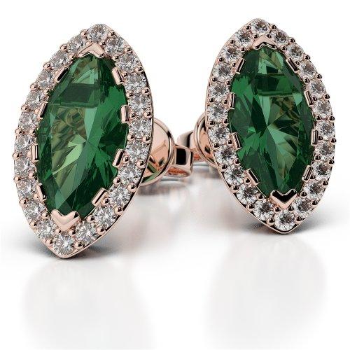 Or Rose 18carats 0,44CT G-H/VS sertie de diamants Forme marquise Émeraude et boucles d'oreilles Ager-1068