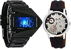 Pappi Boss Casual Sports Analogue Digital Black Dial Watch for Men and Boys