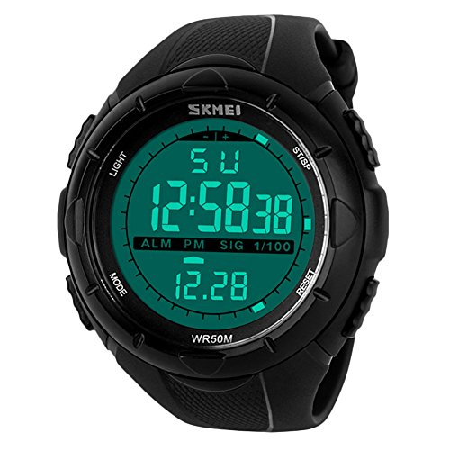 Uomo sport orologio digitale - 5 barre impermeabile militare digitale orologi con allarme/timer/sig, nero grande face outdoor sport led orologio da polso da uomo ragazzo ragazzi di bhgwr