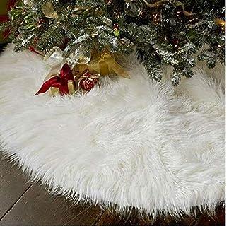 TOSSPER Decoración de Navidad de la Alfombra Año Nuevo Inicio al Aire Libre del Partido del acontecimiento de la decoración del árbol Faldas Creativo de Felpa Blanca árbol de Navidad Faldas de Piel