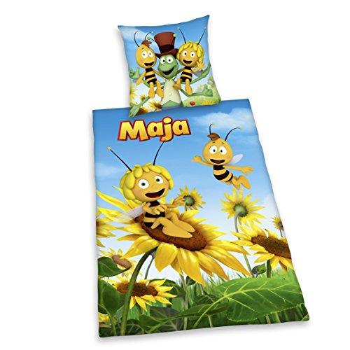 Herding 4487055077 Biene Maja Bettwäsche, Baumwolle, Gelb, 140 x 200 cm (Honig Bettbezug)