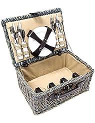 Cesta de mimbre Cesta para picnic Con vajilla incluida 28 x 20 x 40 cm