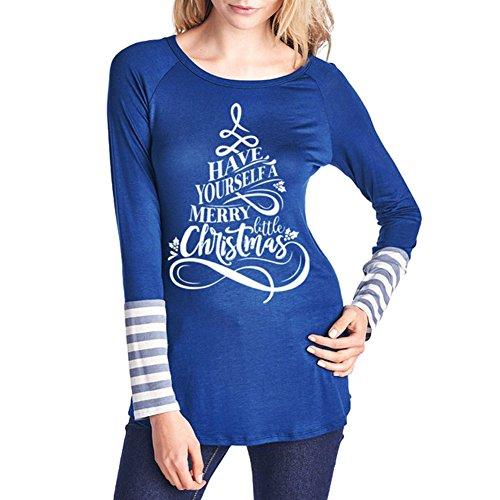 Blouses Noël Chemises Femmes Shirt Col Rond T-shirts Manche Longue Impression Wapiti Noël Décontractée Quotidien Cadeau Festival Automne Hiver Noir Blanc Bleu S / M / L / XL hibote Bleu