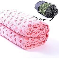 Macallen - Toalla antideslizante para esterilla de yoga (63 x 180 cm) rosa rosa