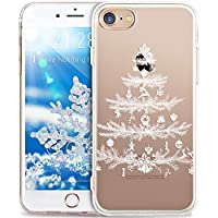 iPhone 8 Hülle,iPhone 7 Hülle,ikasus Durchsichtig mit Xmas Christmas Snowflake Weißen Weihnachten Schneeflocke Hirsch Muster Klar TPU Silikon Handyhülle Schutzhülle,Weißer Weihnachtsbaum