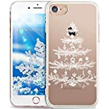 Cover iPhone 8,Cover iPhone 7,Custodia iPhone 7,Custodia iPhone 8,ikasus Crystal Clear TPU con Cervi di fiocco di neve di natale bianco Xmas Christmas Snowflake Custodia Cover [Crystal TPU] [Shock-Absorption] Protettiva Trasparente Ultra Sottile Silicone Gel Cover Custodia chic Crystal Clear Case Super Sottile Bumper Case Custodia Cover per Apple iPhone 8 / iPhone 7 - Albero di Natale bianco
