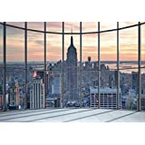 "1Pared No Tejido ""Empire State Building ventana Vista"" pasta la pared Mural, madera, negro y blanco, 3,6x 2,53m"