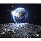 decomonkey Fototapete Mond Erde 350x256 cm XL Tapete Fototapeten Vlies Tapeten Vliestapete Wandtapete moderne Wandbild Wand Schlafzimmer Wohnzimmer Stern schwarz