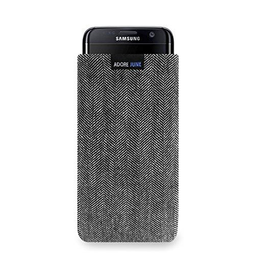 Adore June Business Tasche für Samsung Galaxy S7 Edge Handytasche aus charakteristischem Fischgrat Stoff - Grau/Schwarz | Schutztasche Zubehör mit Display Reinigungs-Effekt | Made in Europe - Grau Fischgrat-jacke