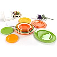 Highdas 10 inch bianco puro rotonda Dinner Plate melamina Piatto, Set di 2