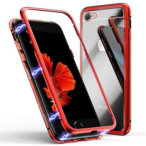 iPhone 6/6s Hülle, ZHIKE Magnetische Adsorption Handyhülle Ultra Dünn Metallrahmen Hartglas mit eingebautem Magnetklappdeckel für iPhone 6/6s (Transparent Rot) (Iphone Von 6 Case-mate Case)