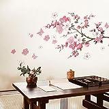 Adesivi murali fiori Sakura - Rimovibile fiore di ciliegio Ramo d'albero decalcomanie Murales - Decorazioni per la casa fai da te Adesivi murali per Camera da letto Soggiorno Camera per bambini - Dracarys