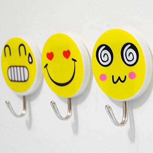 erschiedene niedliche Emoji-Kinder Wand Haken Sticky selbstklebende Haken zum Aufhängen für Badezimmer Küche Tür Schlüssel Kinder Mäntel Bademantel Handtuch Kochutensilien etc. ()