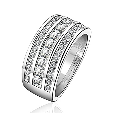 HMILYDYK Jewelry Austrian Crystal Paved 925 Sterling Silver Plated Ring Band