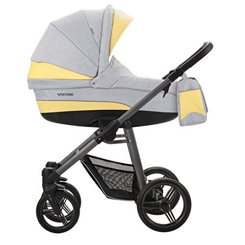 Bebetto Vulcano S-line Leder Modernes Travelsystem Kinderwagen Babywagen Buggy Kinderwagen System + Wickeltasche + Regenschutz + Insektenschutz (3in1 (inkl. Babyschale), S-LINE SL05G GREY-YELLOW)